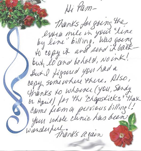 Madison Oral Surgery Hand Written Testimonial